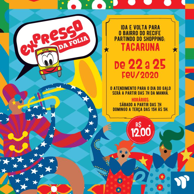 Shopping Tacaruna é ponto do Expresso da Folia durante o Carnaval
