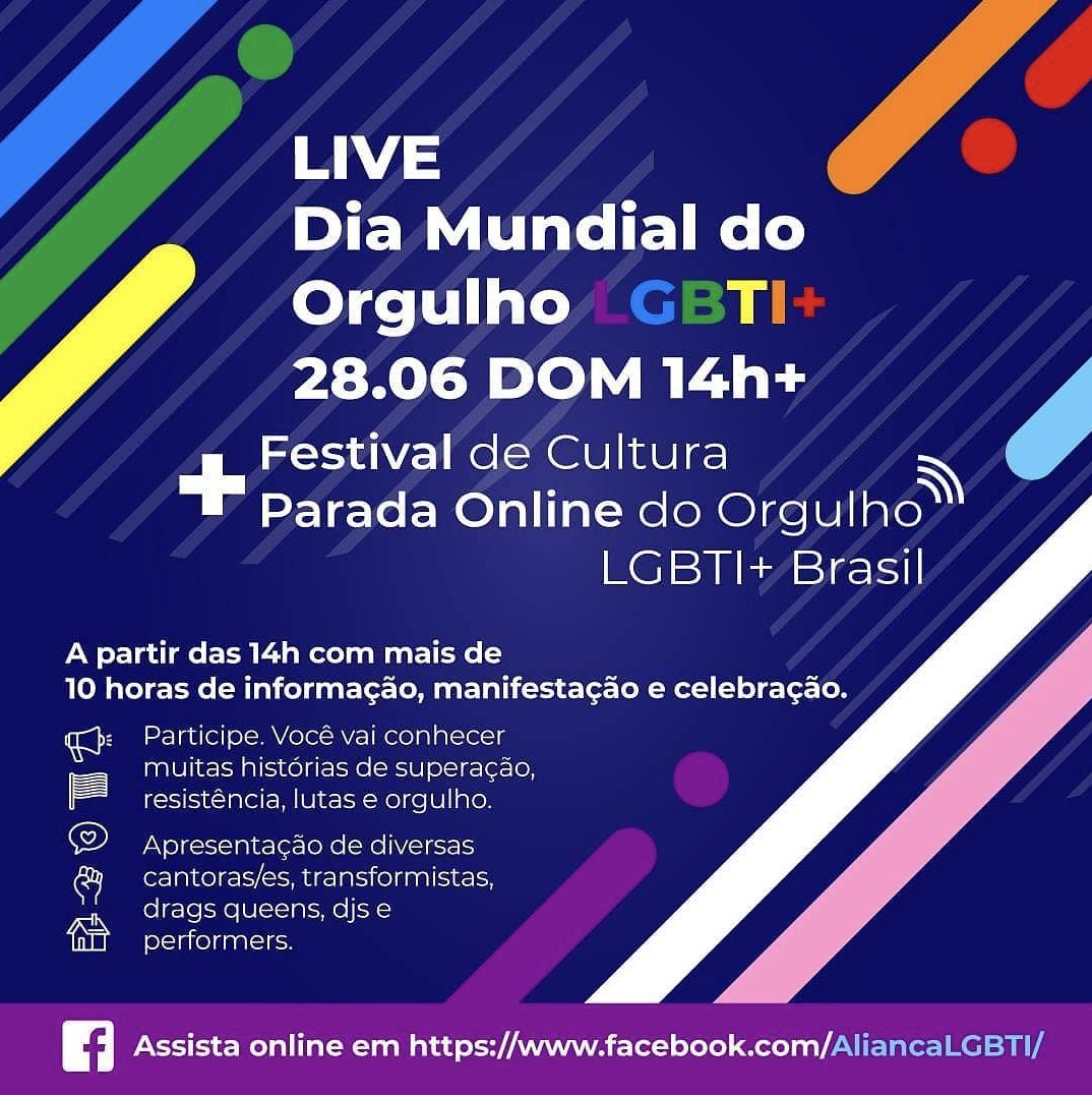 Celebrando o Dia Internacional do Orgulho LGBTI, Brasil promove sua primeira Parada online