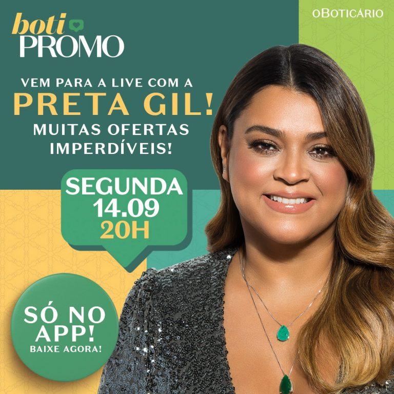 Boticário promove ofertas imperdíveis em live com Preta Gil no aplicativo da marca