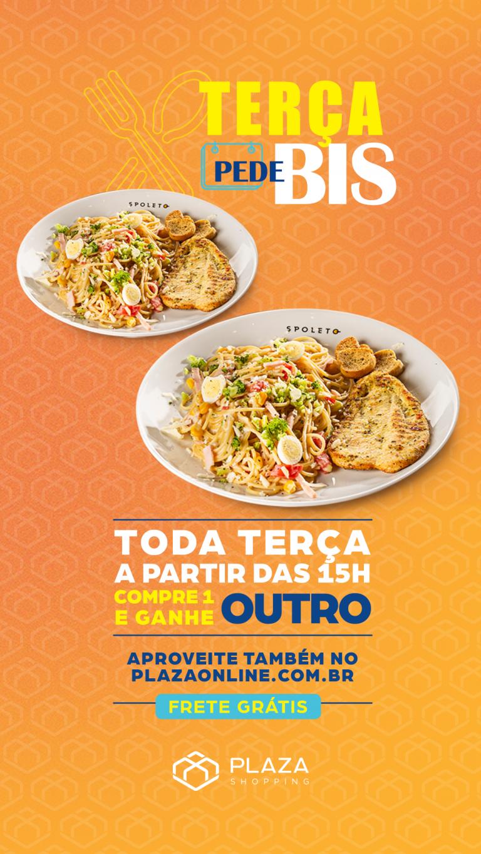 Pague uma e leve duas refeições na Terça pede Bis do Plaza Shopping