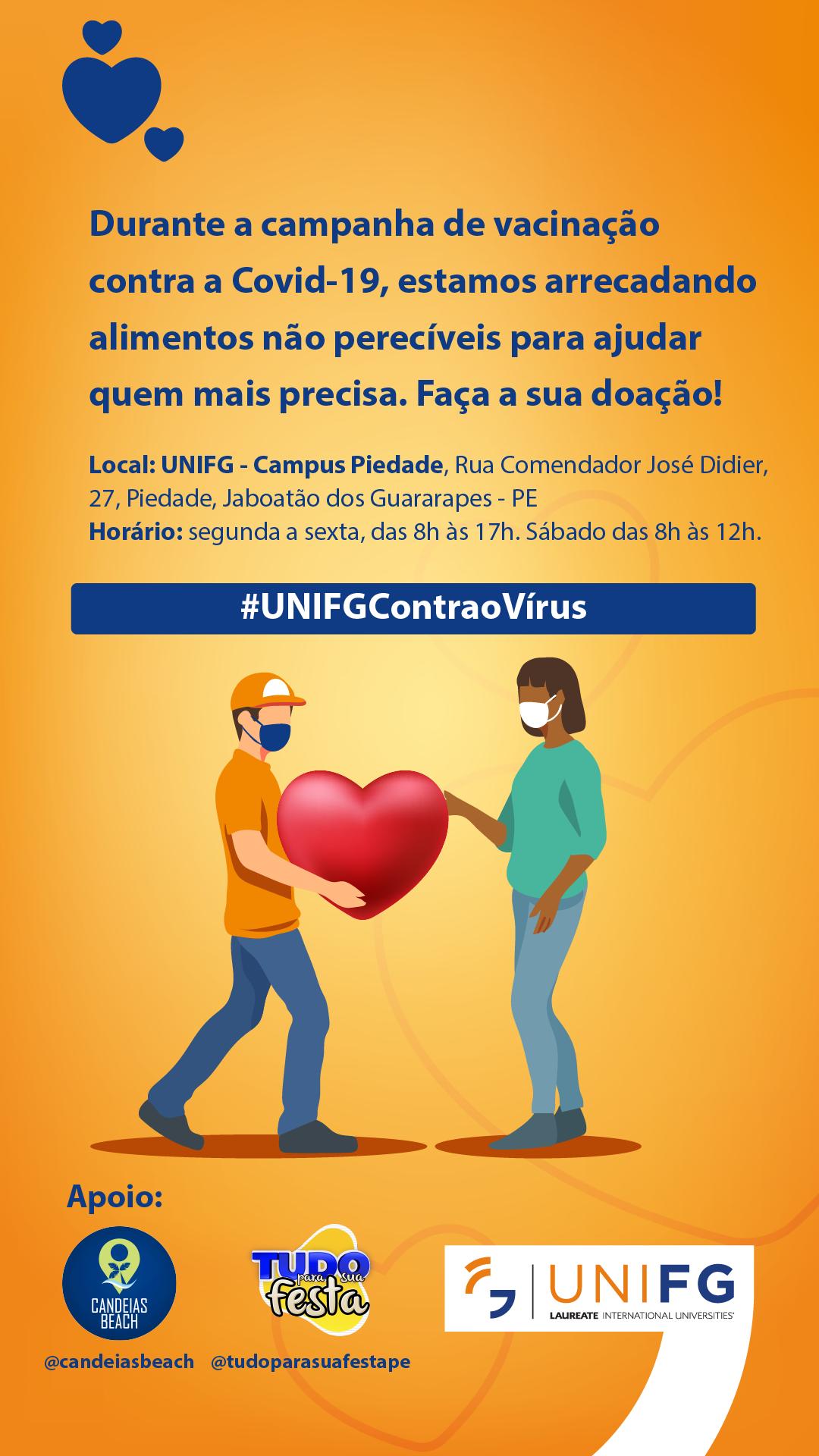 Ponto de vacinação em Jaboatão se torna local para arrecadar doações